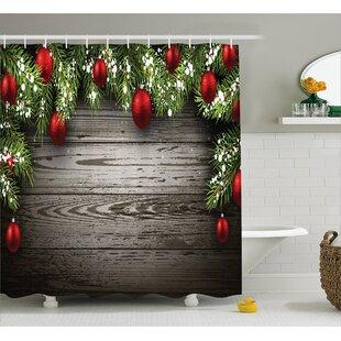 Christmas Red Balls Fir Branch Shower Curtain ByThe Holiday Aisle