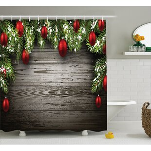 Christmas Red Balls Fir Branch Single Shower Curtain