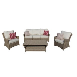 Leamont 4 Piece Sunbrella Sofa Set with Cushions by Bay Isle Home