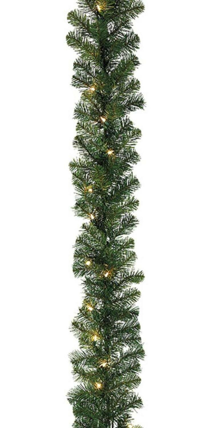 The Holiday Aisle 27 Olympia Pine Artificial Christmas Pre Lit Garland With 300 Clear White Lights Wayfair