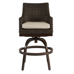 Asphod?le Outdoor Wicker Patio Bar Stool with Cushion by Gracie Oaks