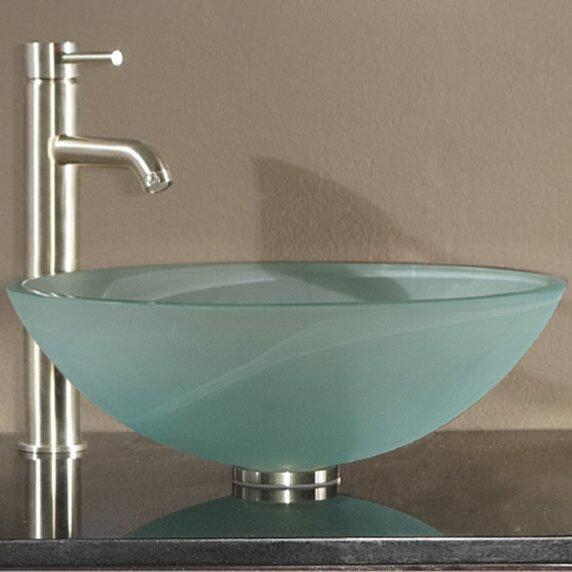 Avanity Tempered Glass Circular Vessel Bathroom Sink With Overflow U0026  Reviews | Wayfair
