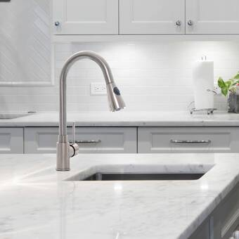 Invanity Brushed Nickel Pull Down Single Kitchen Faucet With Deck Plate Wayfair
