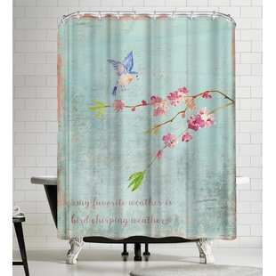 Grab My Art Spring Bird Sakura And Cherry Blossom Single Shower Curtain