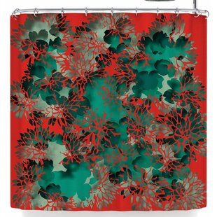Rosa Picnic Coral Abstract Single Shower Curtain
