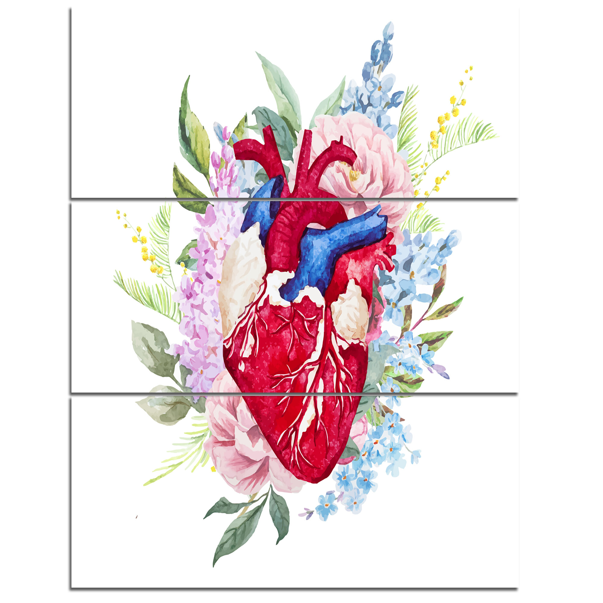 Designart Watercolor Heart With Flowers 3 Piece Wall Art On Wrapped Canvas Set Wayfair