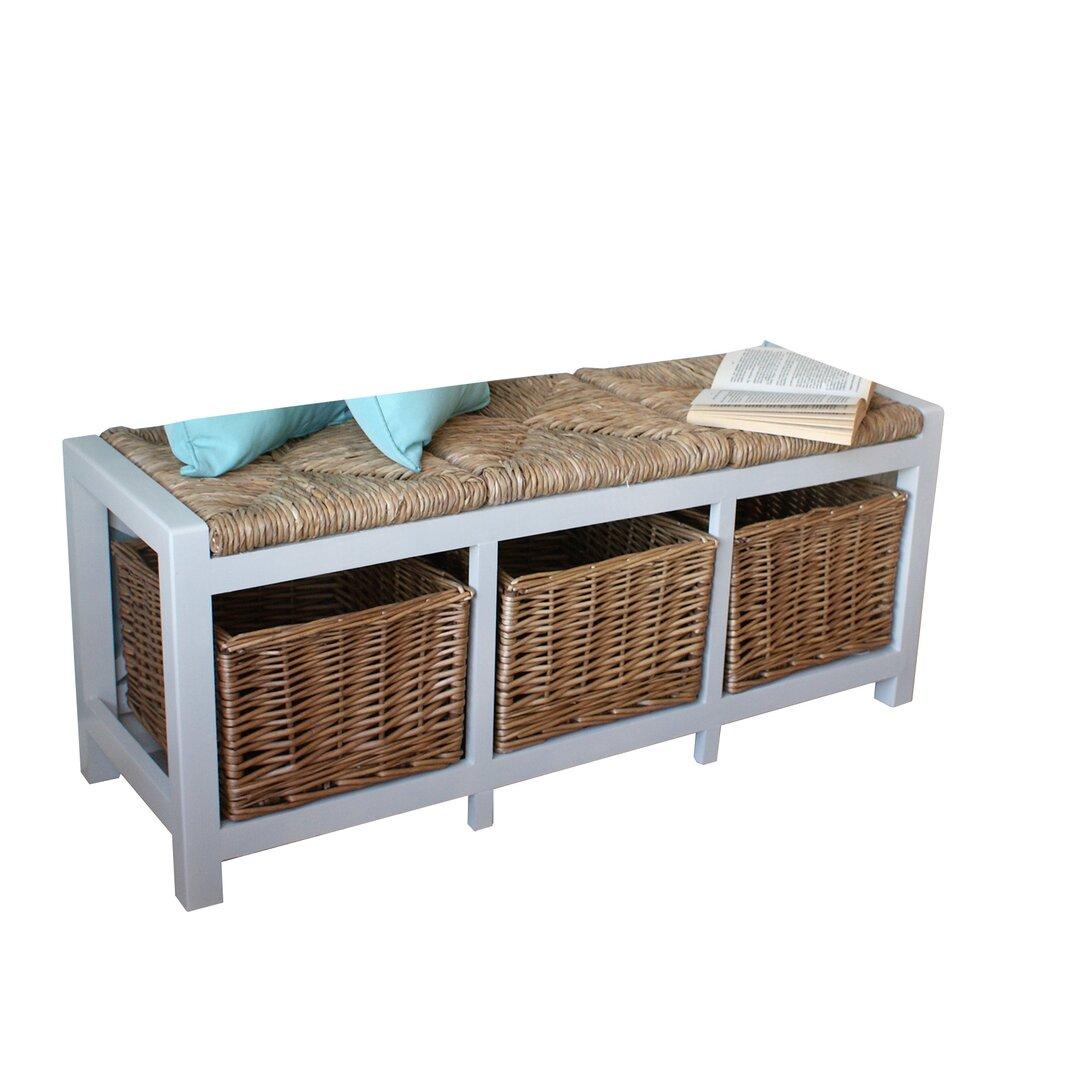 Veronica 3 Willow Basket Wood Storage Bench