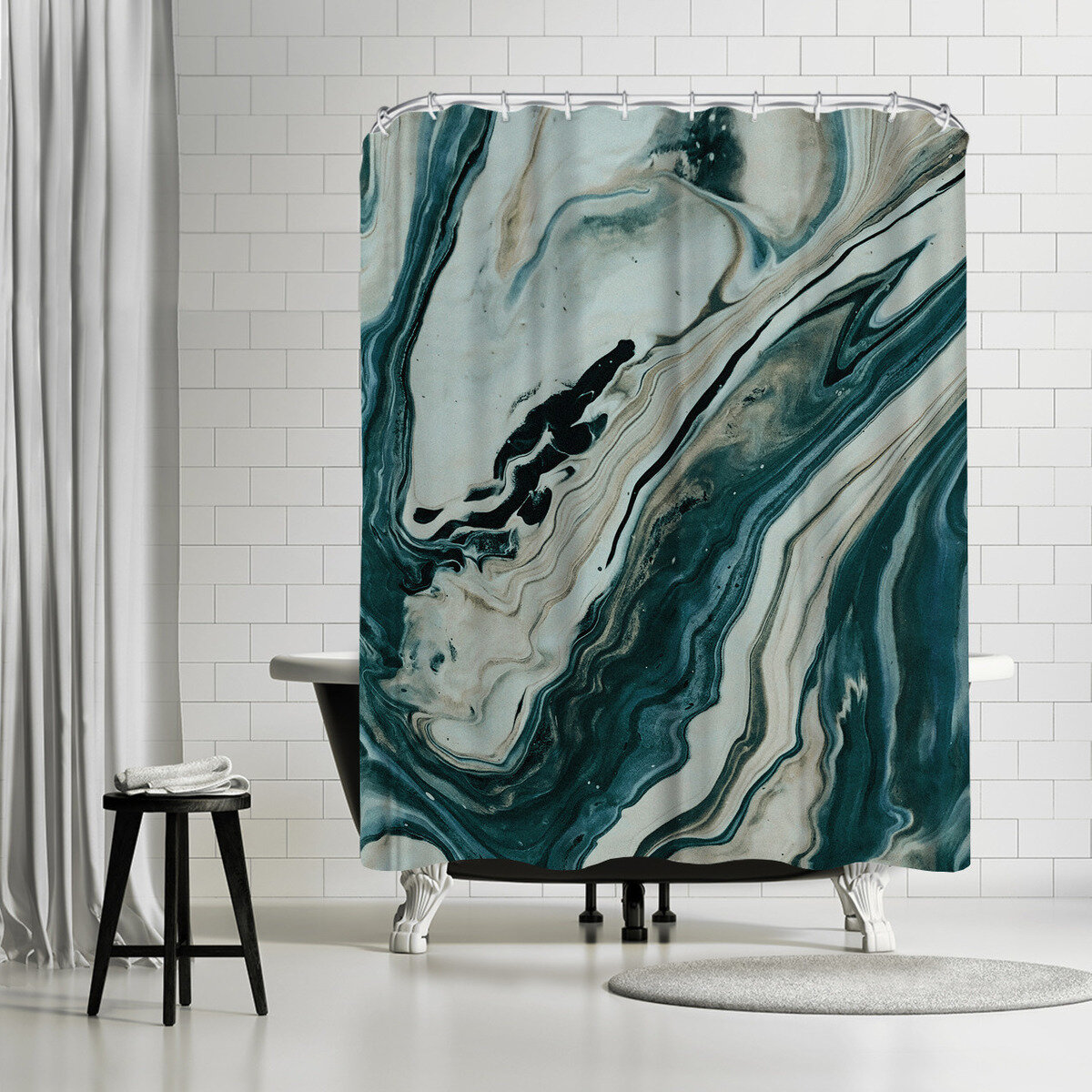 East Urban Home Leah Flores Tranquil Arctic Marble Single Shower Curtain Wayfair
