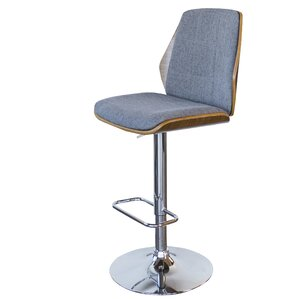 Bent Wood Fabric Adjustable Height Swivel Bar Stool by AmeriHome