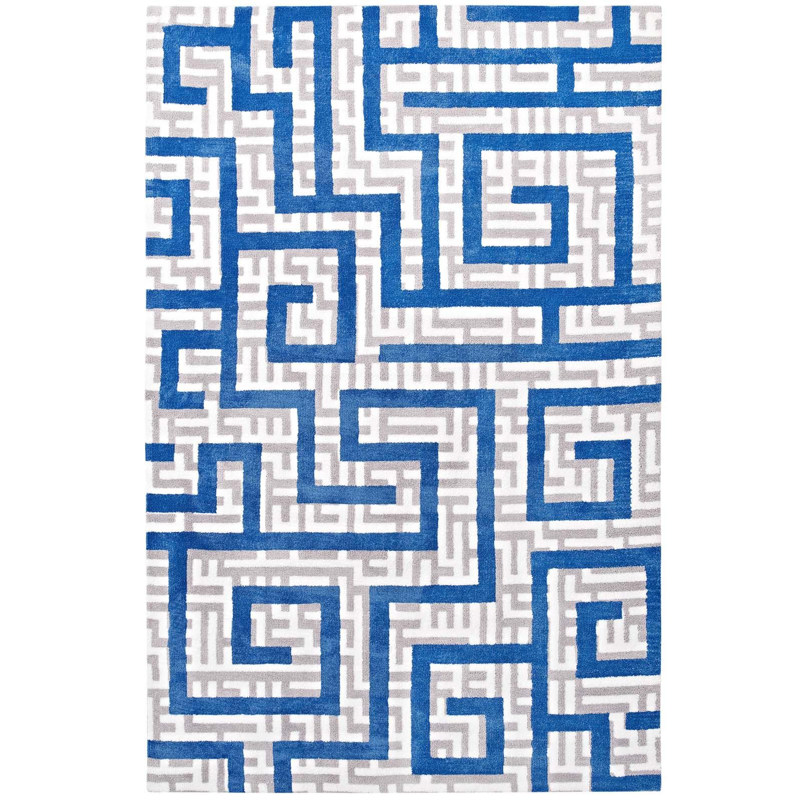 Mercer41 Selvage Geometric Maze Ivory/Light Gray/Blue Area Rug | Wayfair