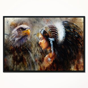 5dfa1acf23647 'Indian with Feather Headdress' Framed Oil Painting Print on Wrapped Canvas