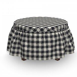 Checkered Sketchy Diagonal Stripes 2 Piece Box Cushion Ottoman Slipcover Set By East Urban Home