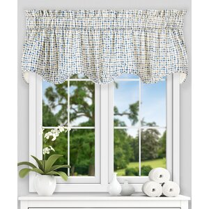 Breckan Ikat Check Lined Scallop 70″ Curtain Valance