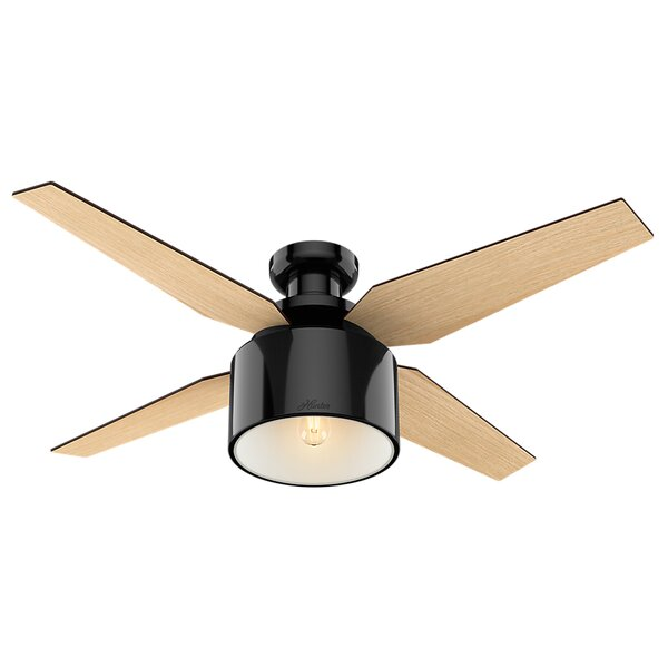 """Shop 52"""" Cranbrook 4 - Blade LED Flush Mount Ceiling Fan with Remote Control and Light Kit Included from Wayfair on Openhaus"""