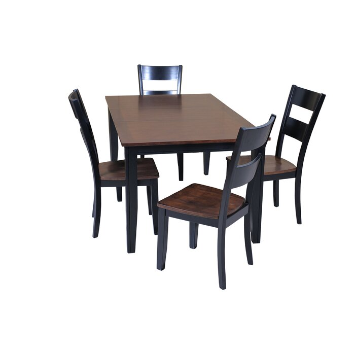 Haan 5 Piece Solid Wood Dining Set with Butterfly Leaf Table