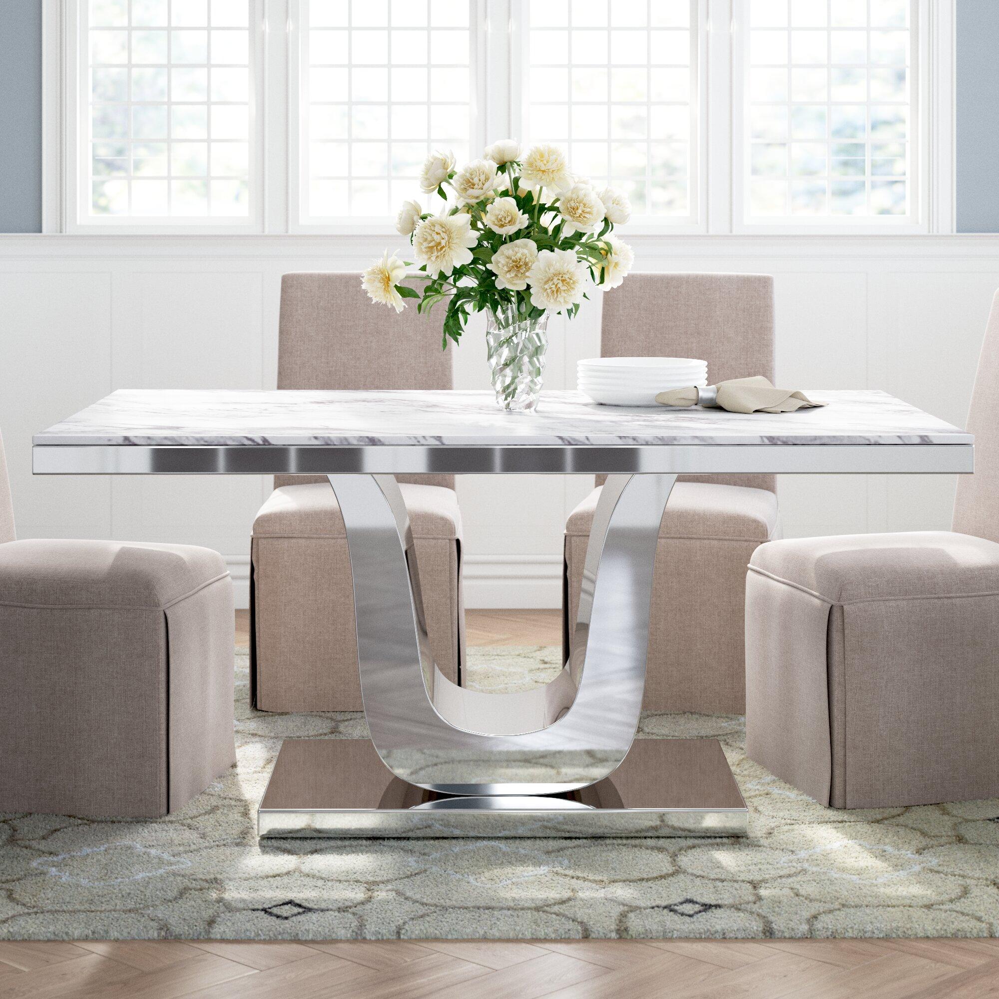 Everly Quinn Maltby Marble Dining Table Reviews Wayfair
