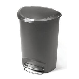 simplehuman 13 Gallon Semi-Round Step Trash Can, Plastic