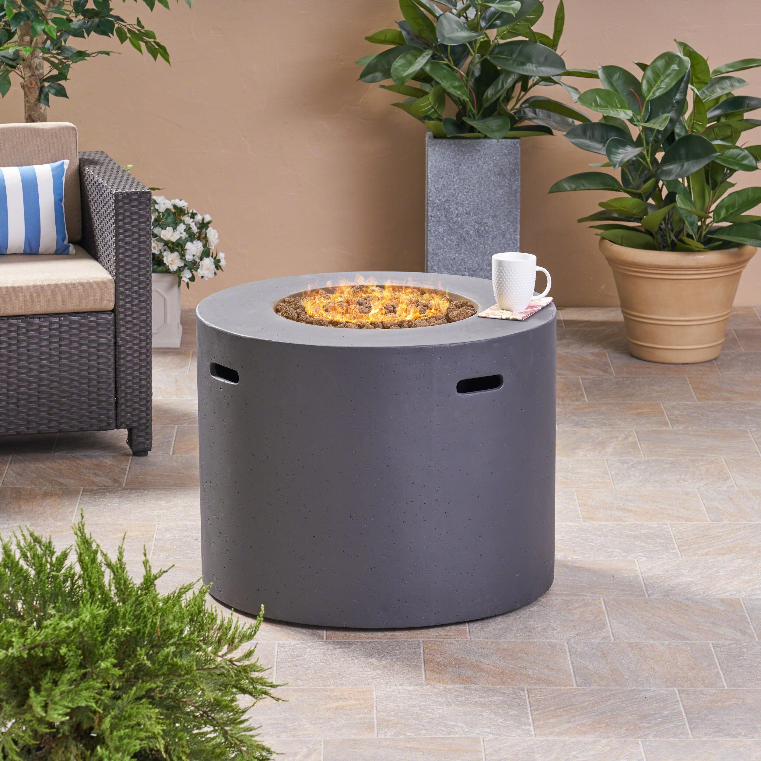 Latitude Run Caelan Outdoor Concrete Propane Gas Fire Pit Table Reviews Wayfair