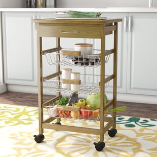 Stratford Kitchen Cart with Wood Top Rebrilliant