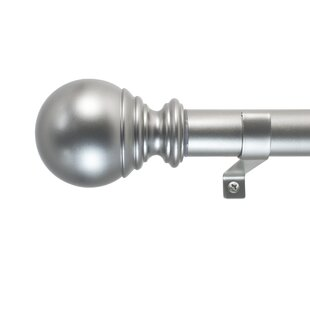 """Extendable Telescopic 0.62"""" Metal Curtain Voile Rod with Ball Finials /& Brackets"""