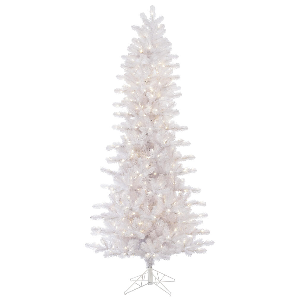 vickerman slim crystal 75 white pine artificial christmas tree with 500 led white lights with stand wayfair