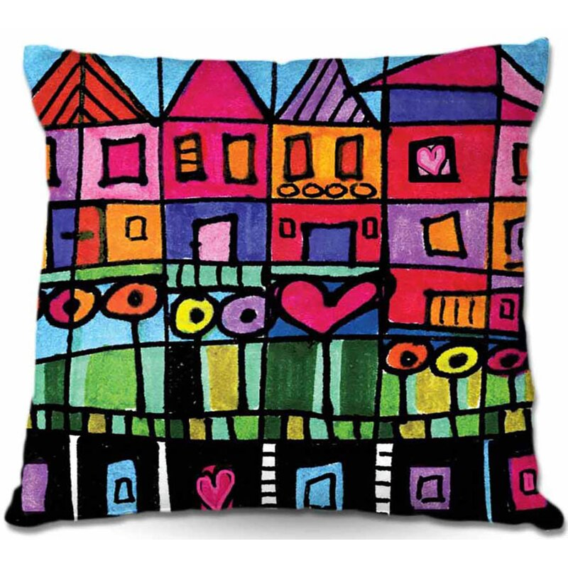 East Urban Home Couch Happy Town Square Throw Pillow Wayfair