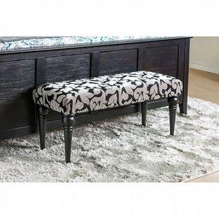 Fleur De Lis Living Costas Floral Wooden Upholstered Bench