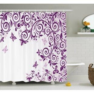 Judah Lilium Floral Branch Shower Curtain by Zoomie Kids