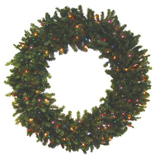 Pre Lit Battery Operated Canadian Pine Artificial Christmas Wreath With Multi Color Led Lights