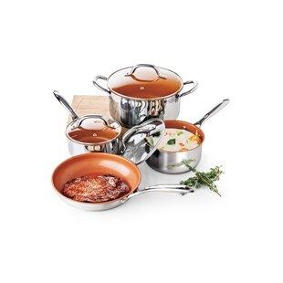 7 Piece Nonstick Stainless Steel Cookware Set