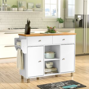 Racquel Kitchen Island with Spice Rack and Towel Rack