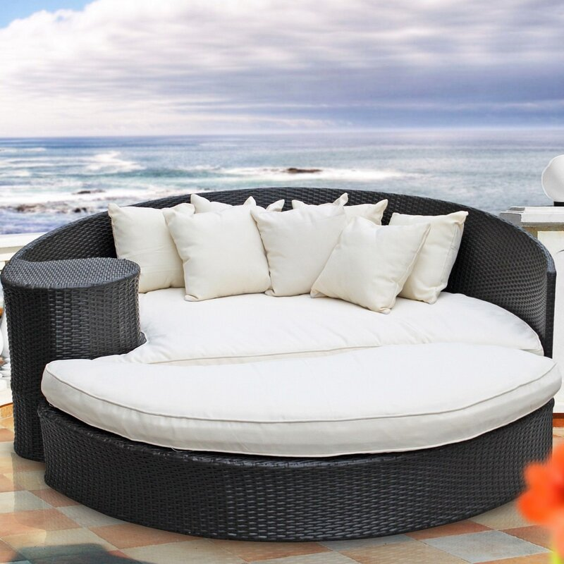 Lovely Greening Outdoor Daybed With Ottoman U0026 Cushions