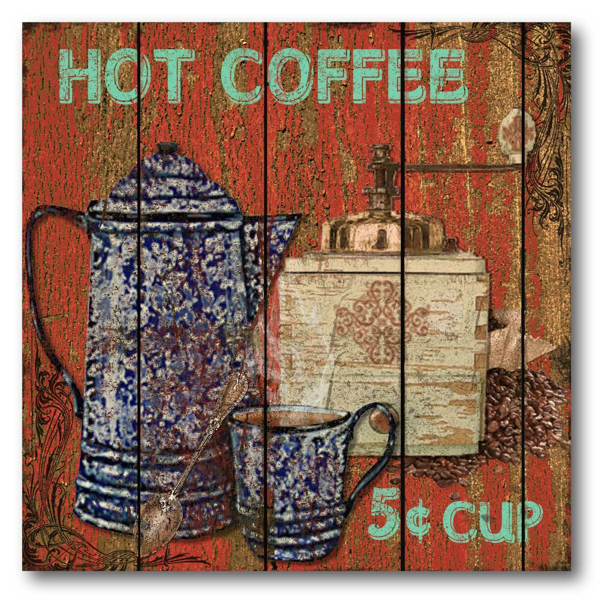 Farmhouse Canvas Hot Coffee Graphic Art On Wred