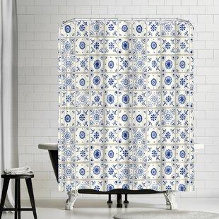 Frankie Van Mourik Delft Tiles Single Shower Curtain