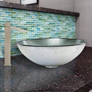 Check Prices Simply Glass Circular Vessel Bathroom Sink with Faucet By VIGO