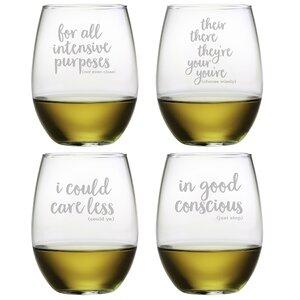 4 Piece Grammar Police 21 oz. Stemless Wine Glass Set