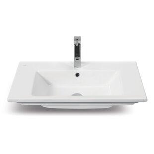 CeraStyle by Nameeks Arte Ceramic Rectangular Drop-In Bathroom Sink with Overflow