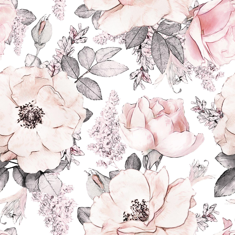 Gk Wall Design Soft Pink Rose Flower Pattern Removable Textile Wallpaper Reviews Wayfair