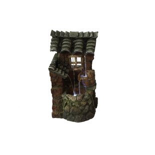 Hi-Line Gift Ltd. Resin Well with Pouring Bucket House Fountain with light