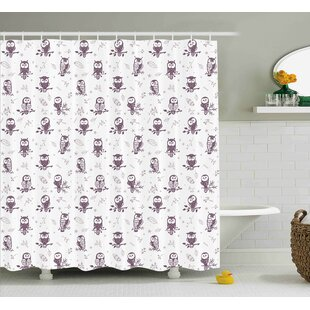 Cristopher Cute Owls on The Branch Single Shower Curtain