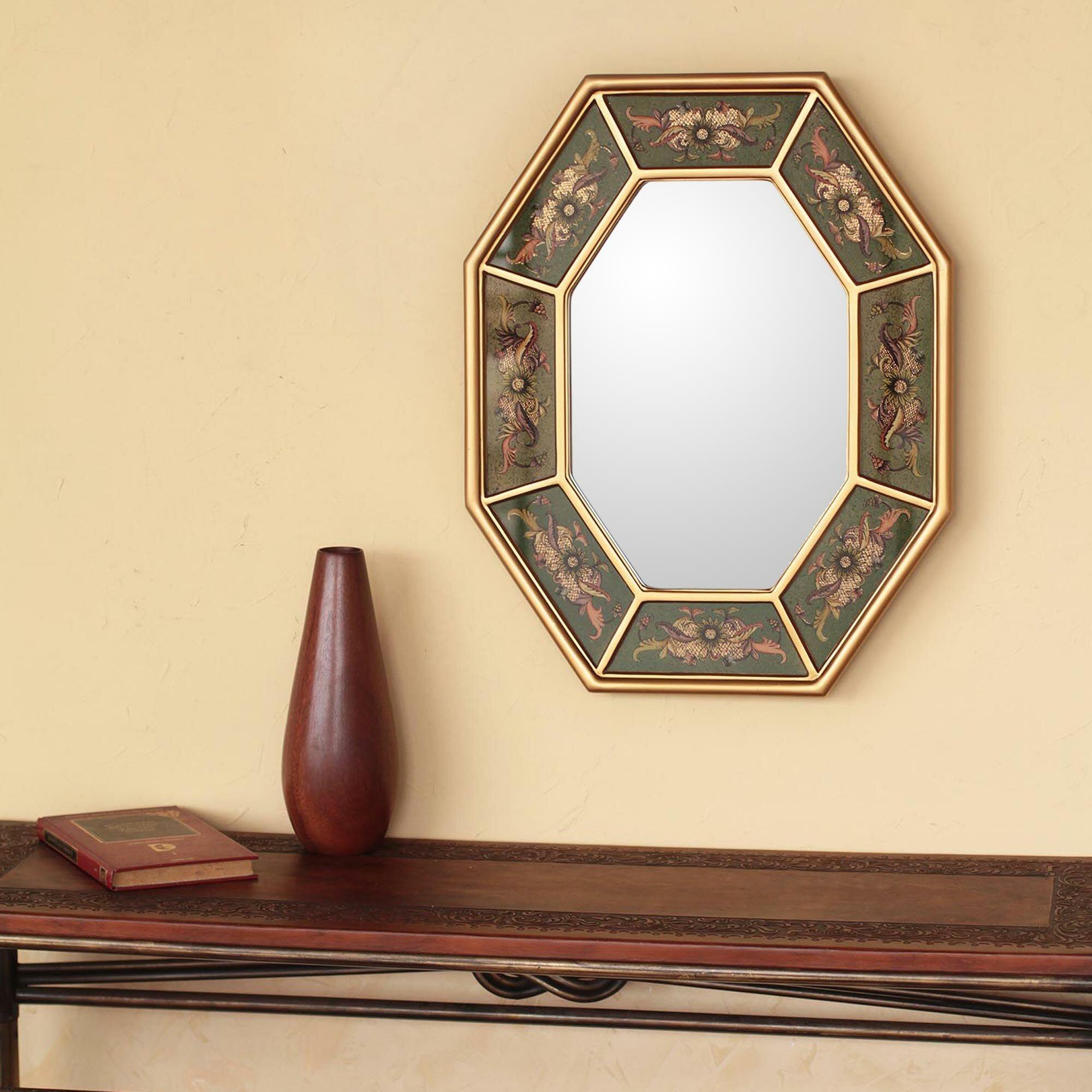 Novica Living Nature Reverse Painted Glass Wall Mirror | Wayfair