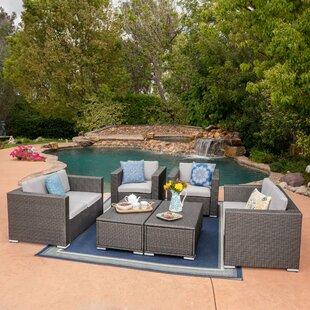 Hughes 6 Piece Rattan Sofa Set with Cushions by Latitude Run