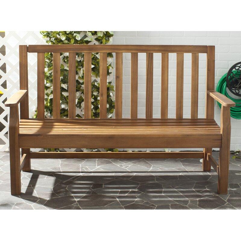 Safavieh Indaka Acacia Wood Garden Bench Reviews Wayfair