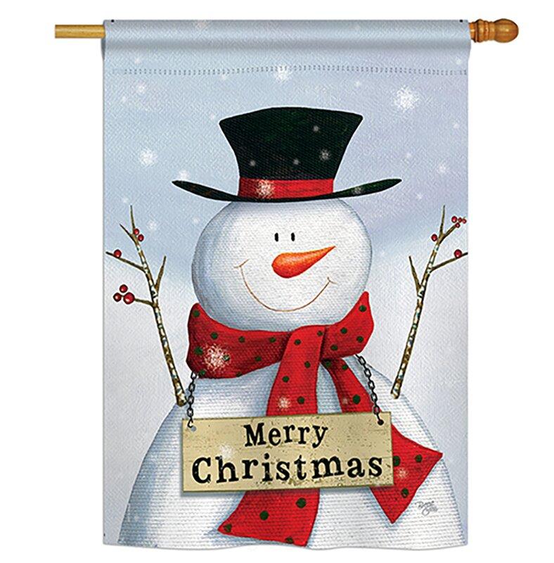 Breeze Decor Joyful Snowman 2 Sided Polyester 40 X 28 In House Flag Wayfair