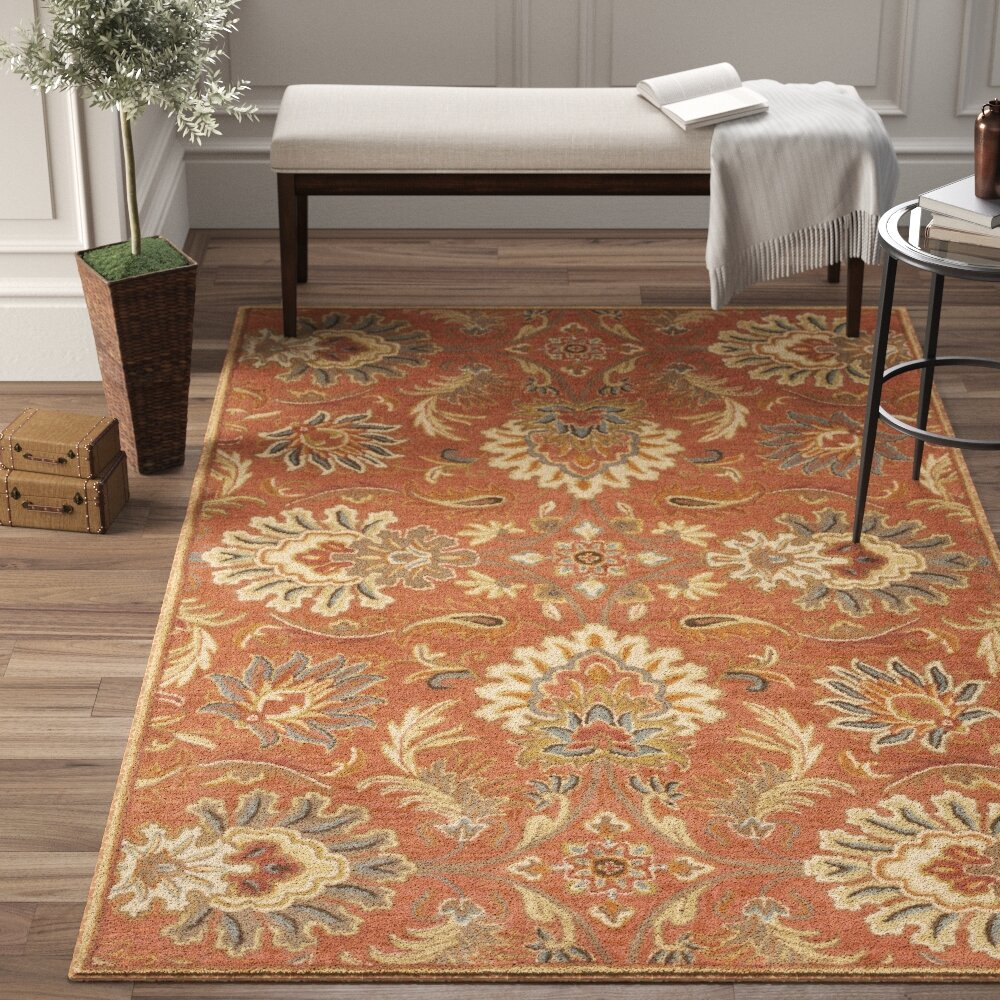 Birch Lane Aaron Floral Hand Knotted Wool Terracotta Area Rug Reviews Wayfair