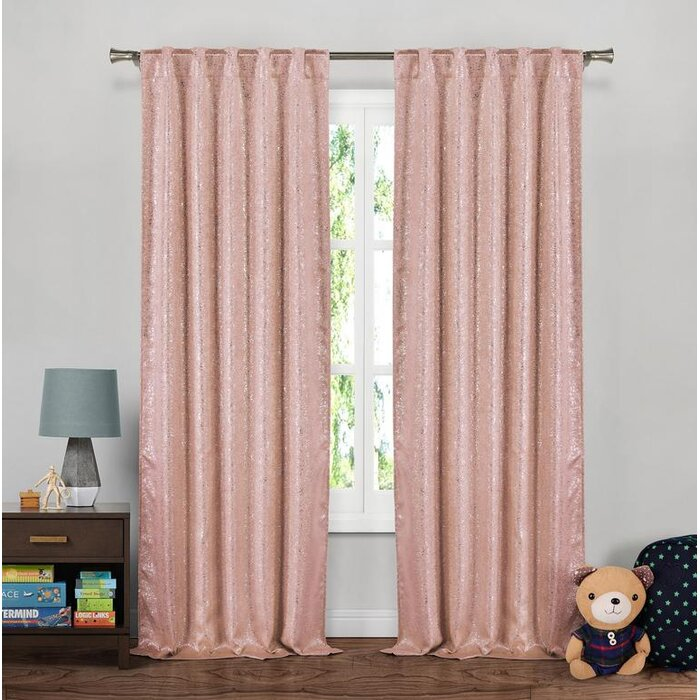 Harriet Bee Baltz Metallic Striped Blackout Thermal Tab Top Curtain ...