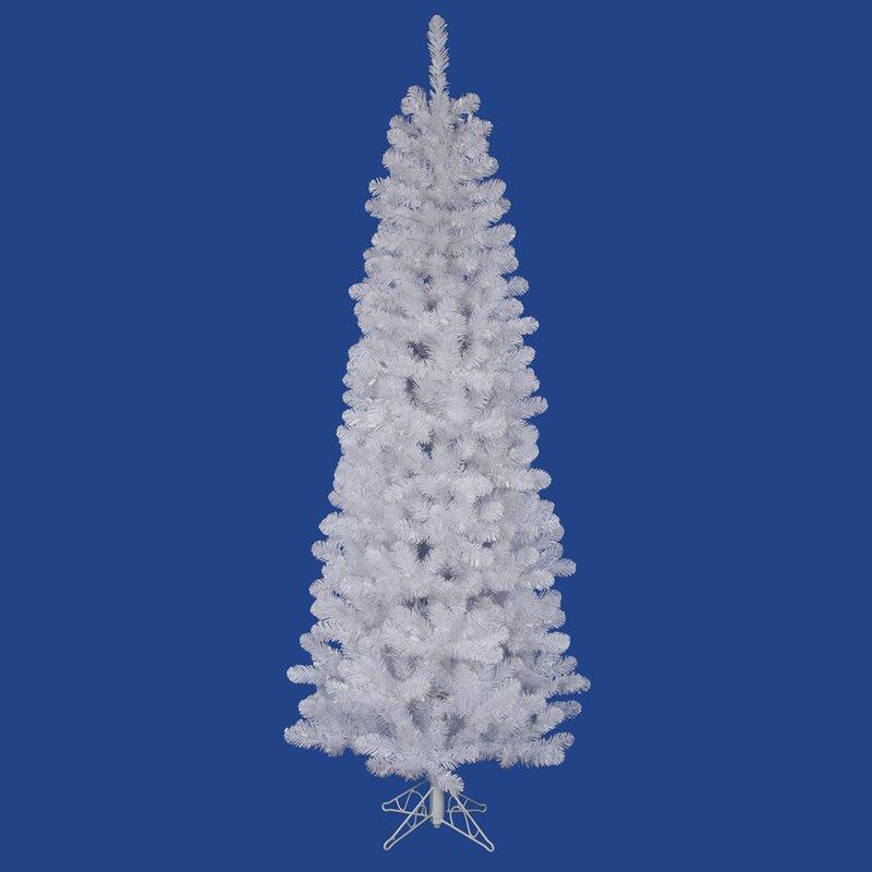 Vickerman Salem Pencil 7.5' White Pine Artificial Christmas Tree ...