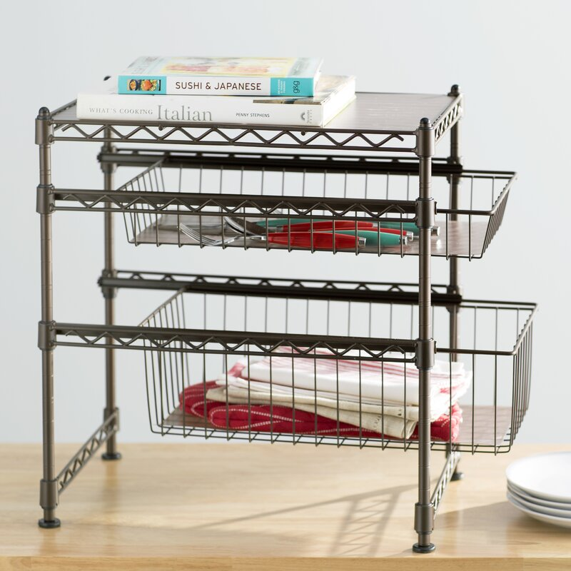Wayfair Basics Wayfair Basics Stackable Kitchen Cabinet Organizer - Wayfair kitchen cabinets