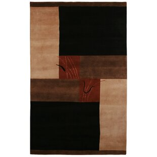 Top Itajai Hand-Knotted Black/Tan Area Rug ByMeridian Rugmakers