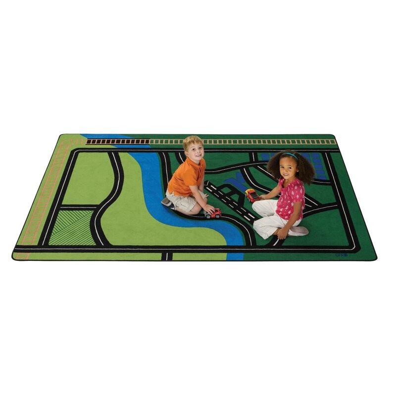 Kids Transportation Fun Green Area Rug